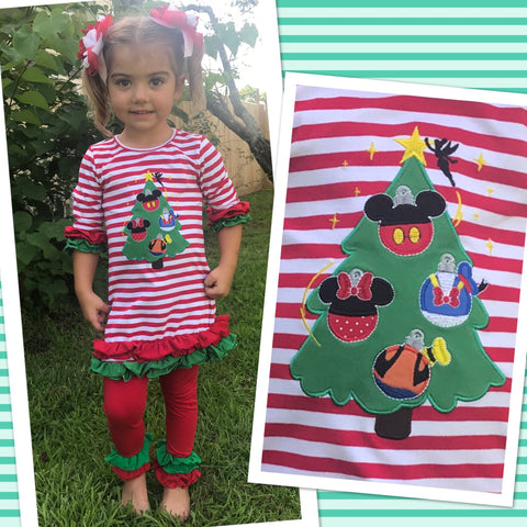 Mouse Friends Christmas Tree Girls Legging Set - Ready To Ship