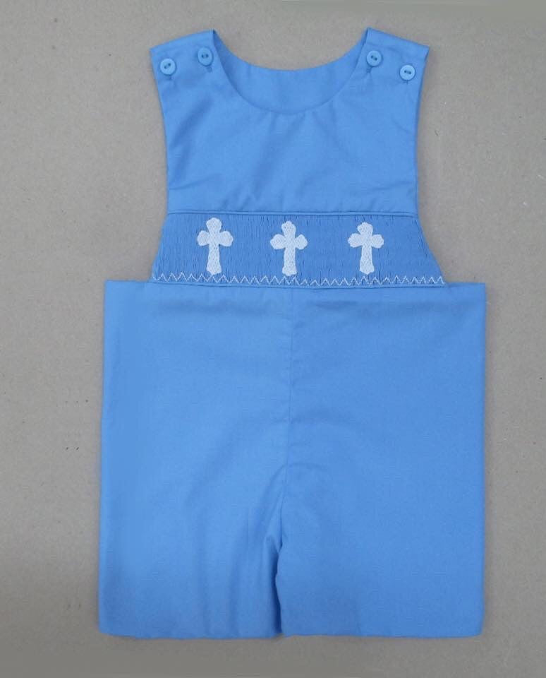 Blue Cross Smocked Shortall- In Stock