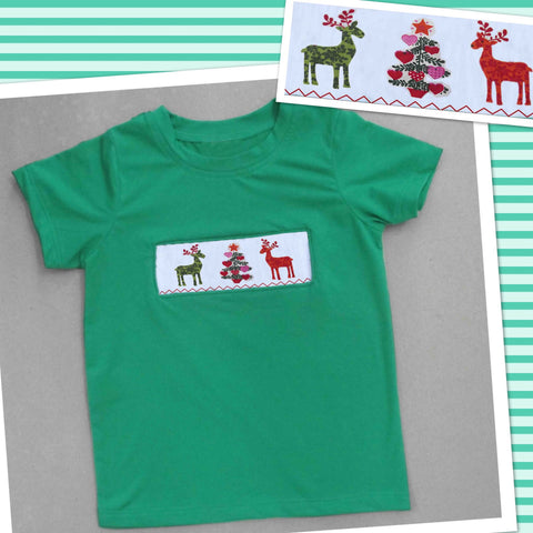 Deer and Tree Green Smocked Boys Tee - PRE SALE SHIP BY BEGINNING OF NOVEMBER