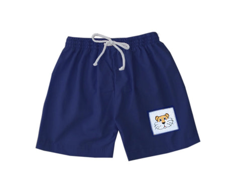 Navy and Orange Tiger Boys Swim Trunks