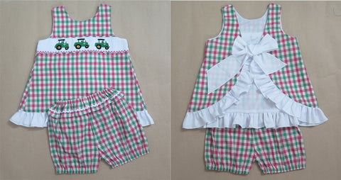Girls Tractor Pink / Green Check Smocked Bloomers- Ready to Ship