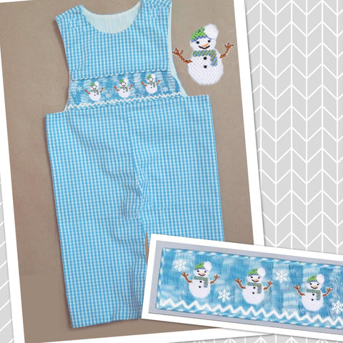 Blue and White Snowman Smocked Longall - PRE SALE SHIP BY BEGINNING OF NOVEMBER