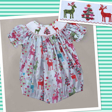Deer and Tree Smocked Bubble - PRE SALE SHIP BY BEGINNING OF NOVEMBER