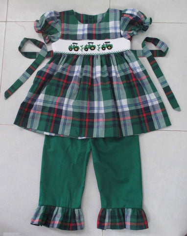 Tractor Plaid Girls Smocked Pant Set