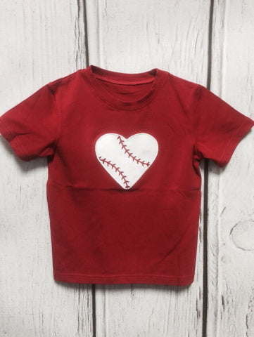 Baseball Heart Applique Tee Shirt