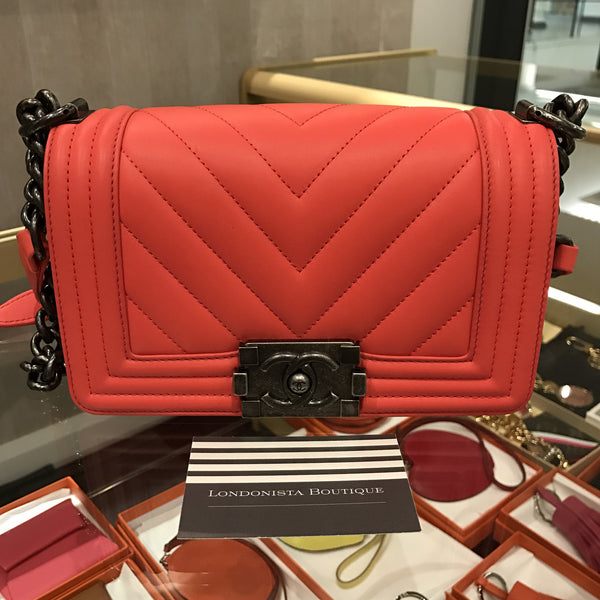 8678bb42165 Chanel boy small calf skin neon pink