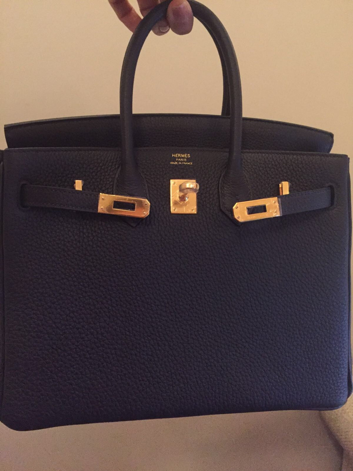 ce5a3436e869 ... official new hermes birkin 25 blue nuit dark blue togo gold hardware  full set 24809 48fc8