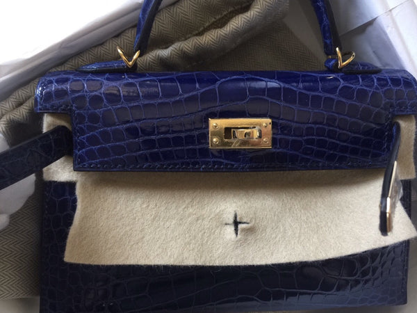 81a67ea480bf Hermes Mini Kelly 20 blue sapphire croco gold hardware