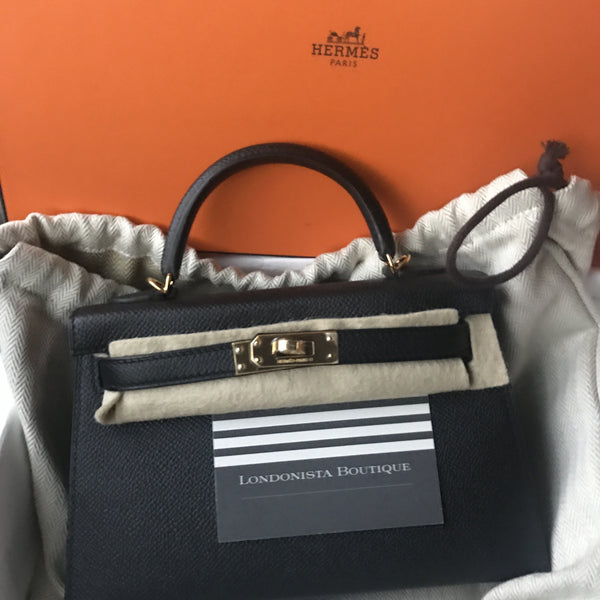 93afa848c5fc Hermes Kelly 20 black Epsom GHW X. Londonista Boutique