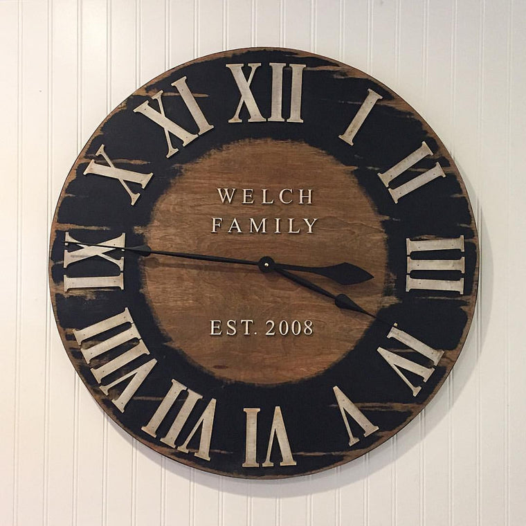 Roman Numeral Wood and Blackboard Clock
