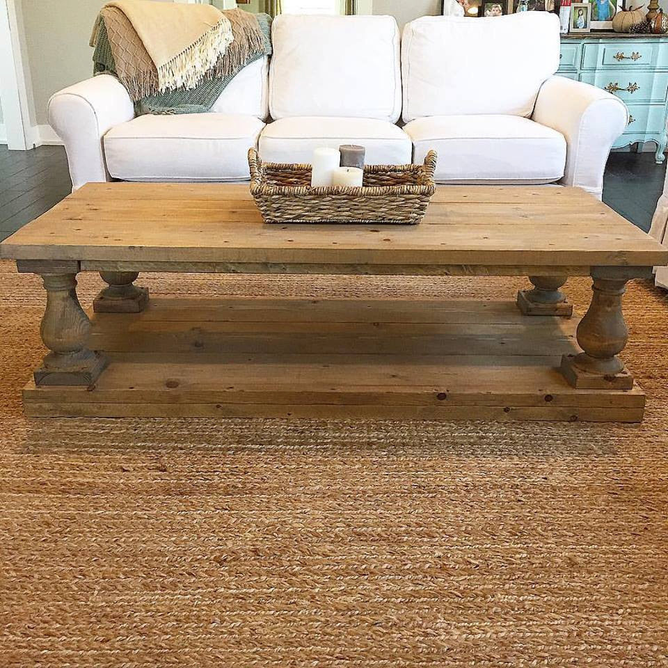 Rustic Baluster Wide Plank Rectangular Coffee Table