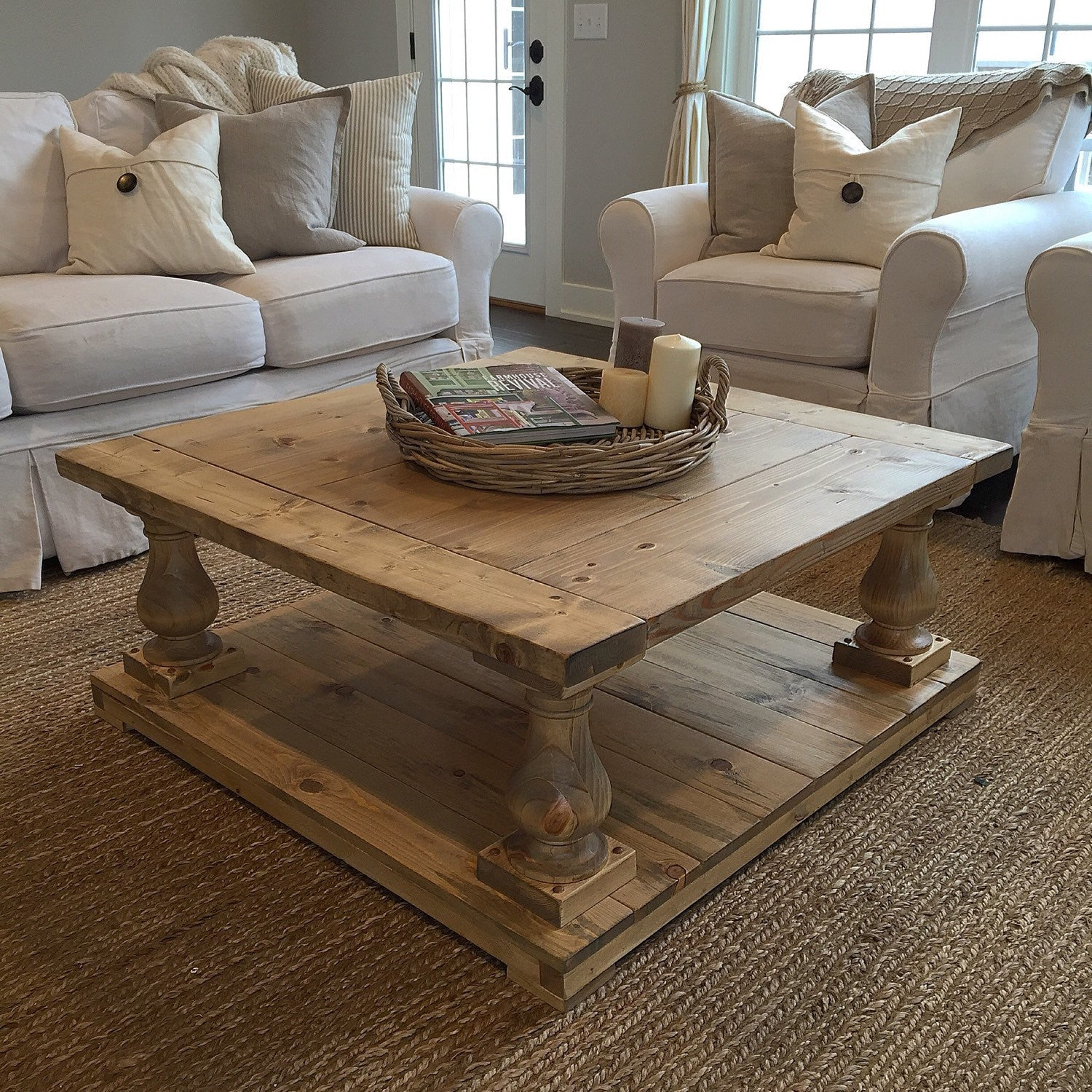 rustic farmhouse cottage baluster coffee table salt creek farmhouse