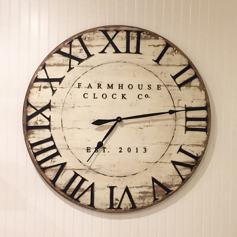 Distressed Roman Numeral Farmhouse Clock
