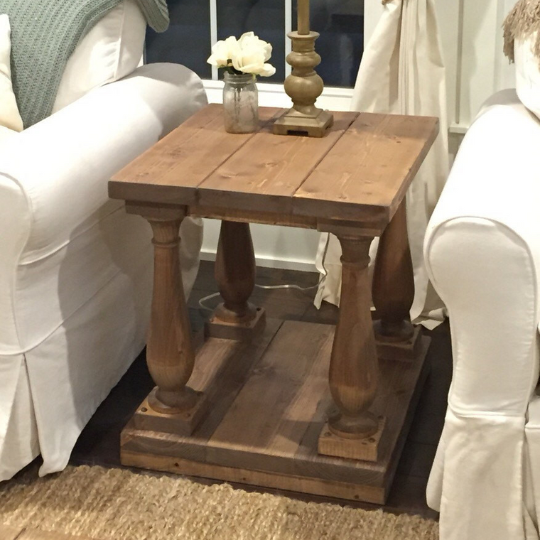 Rustic Baluster End Table
