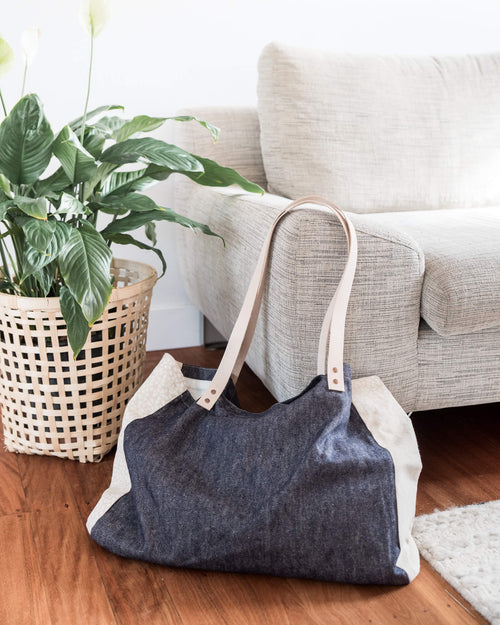 organic denim beach tote