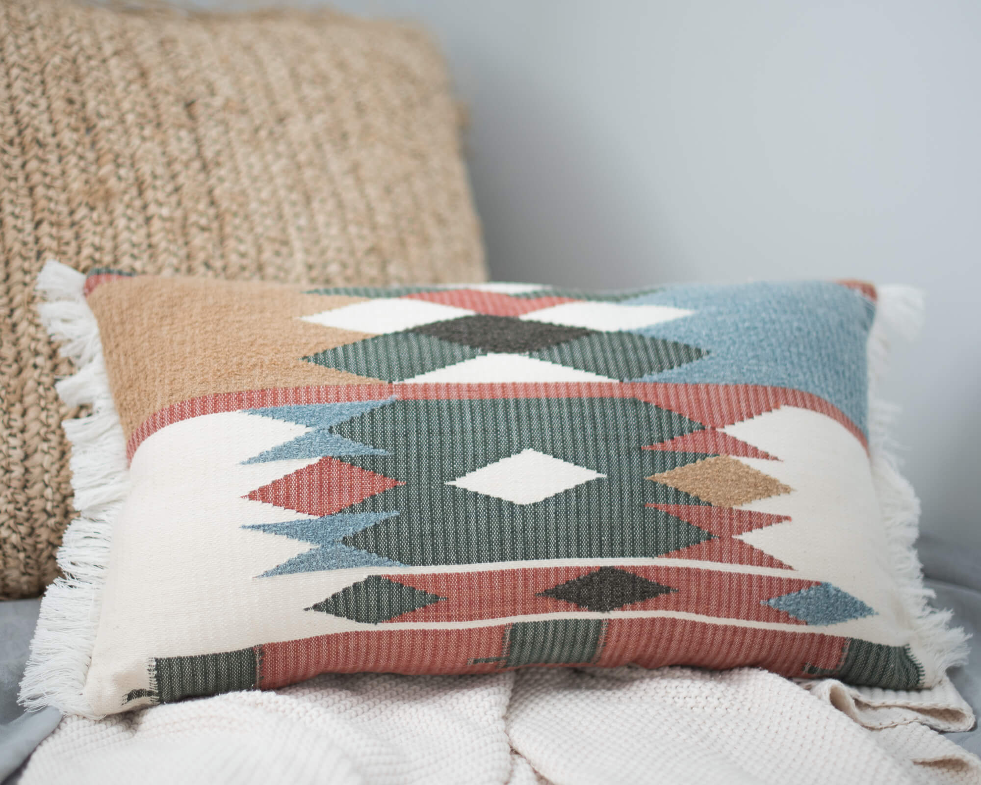 hand loomed plant dyed cushion
