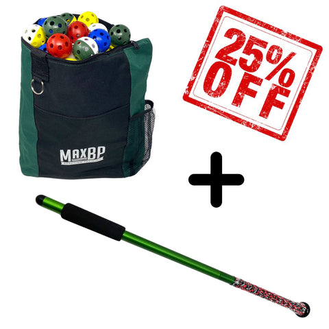 Indoor Training Package #2: BetterBat + 120 Training Balls + Ball Bag