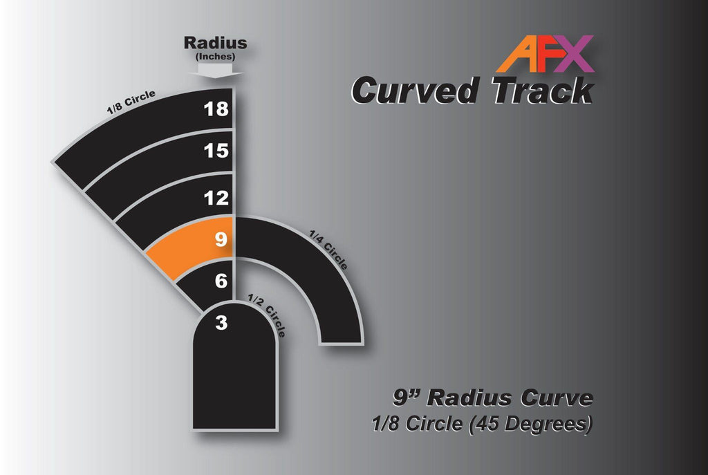 AFX 70603 9 Inch Radius Curve 1/8 circle | Pinnacle Hobby