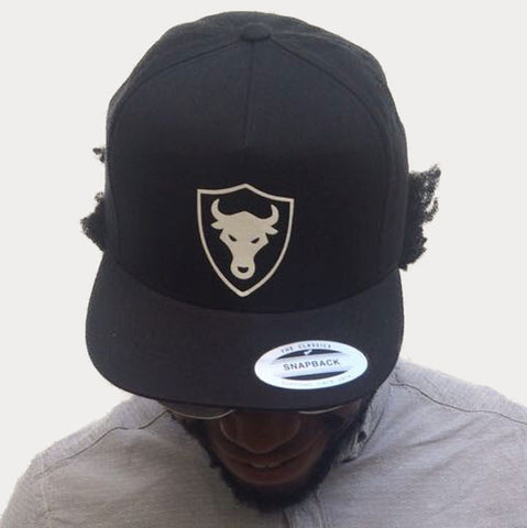Black - Shield Bull Snapback Cap