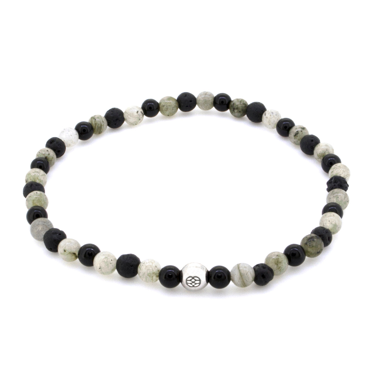 Budoni 4 MM Moonstone Lava Onyx Sterling Silver