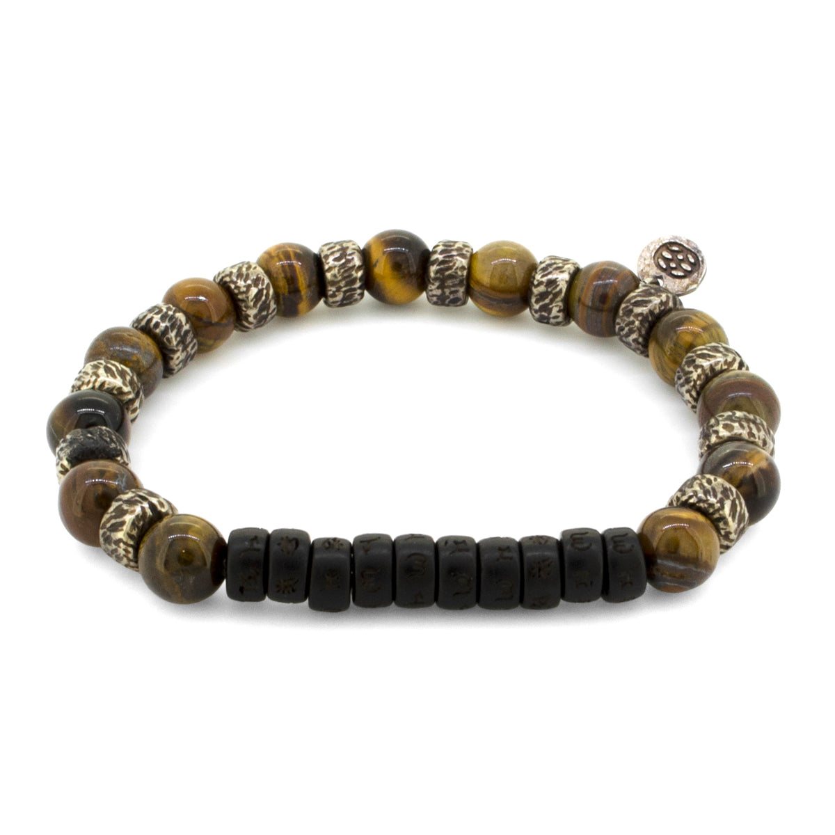 Budoni Tiger Eye 8 MM Tibetan Mantra Wood Vintage