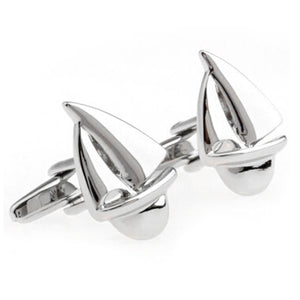 Silver Sailboat Cufflinks 1 Pair