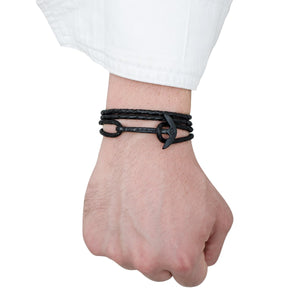 Bracelet - Gaeta Anchor Big Black Braided Leather BK
