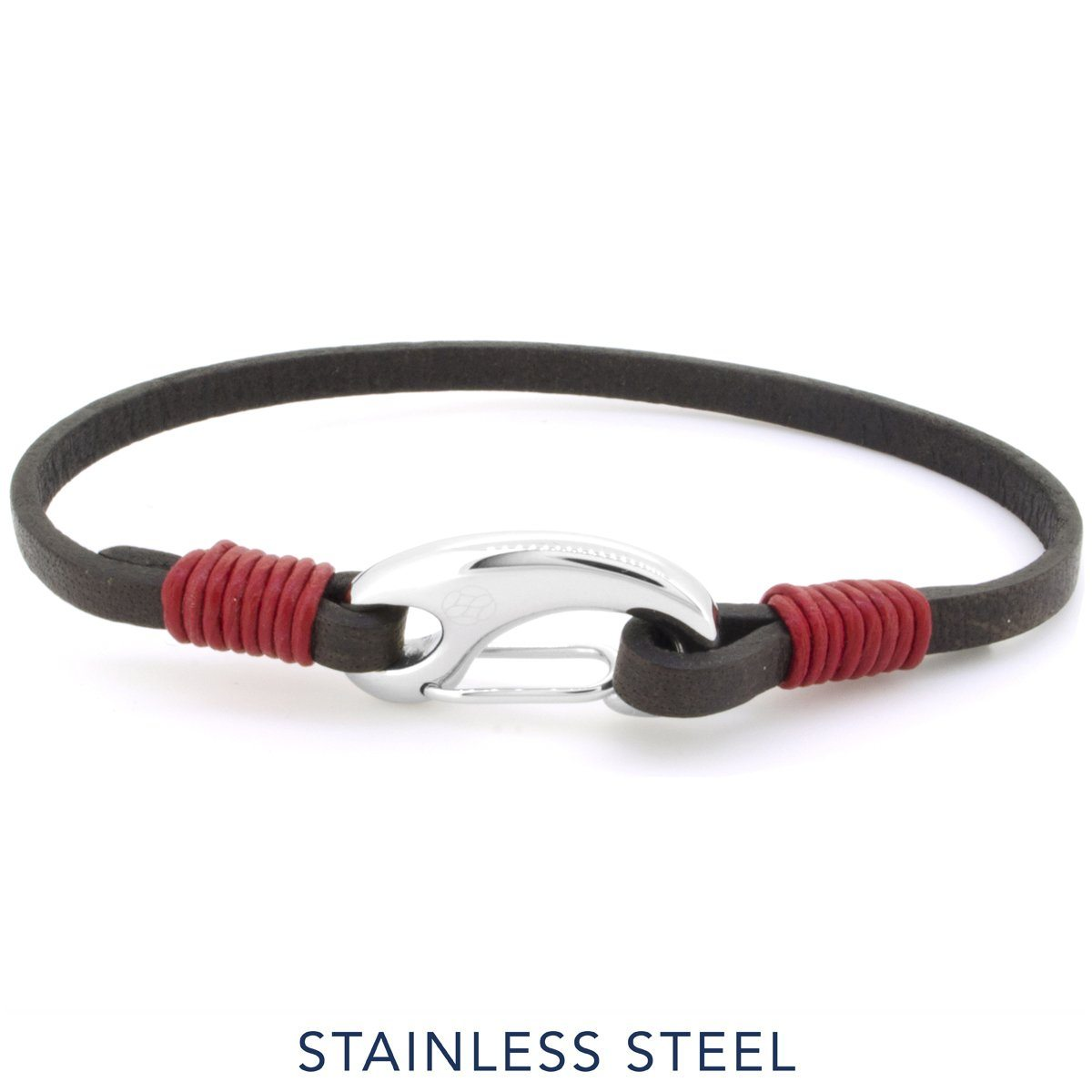 Bracelet - Gancio Brown Red Leather
