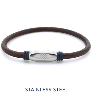 Bracelet - Numana Pelle Brown Navy Blue Leather