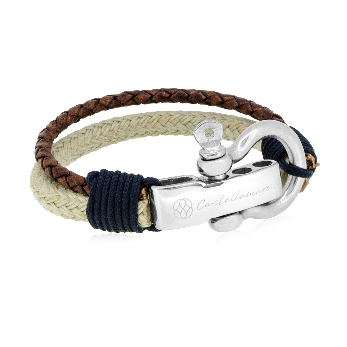 Bracelet - Rimini Beige Brown Braided Leather Solid Navy Stainless Steel