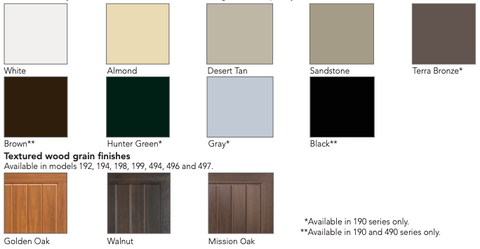 Thermacore Residential Paint Swatches - Garage Door