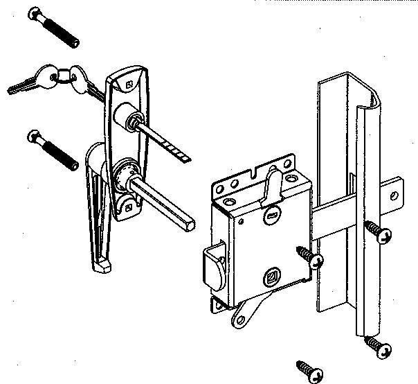 Diagram of garage door slide lock keyed handle