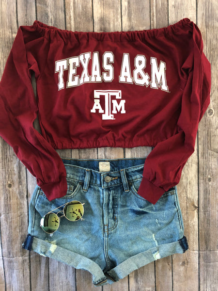 Long Sleeve Off The Shoulder Crop Top Tailgate Transformation Service