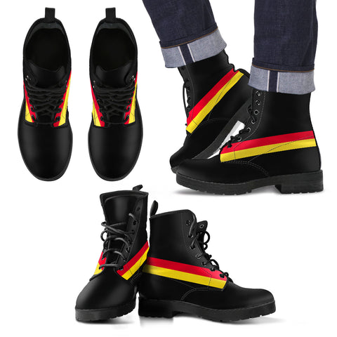 Germany Flag Inspired Lace-Up Boots | Leather
