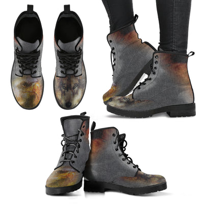Owl And Wolf Native American Lace-Up Boots | Leather