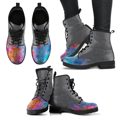 Europe Water Colored Map Lace-Up Boots | Leather