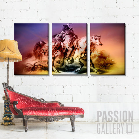 Vibrant Native American On A White Horse 3 Piece Canvas Wall Art Decor