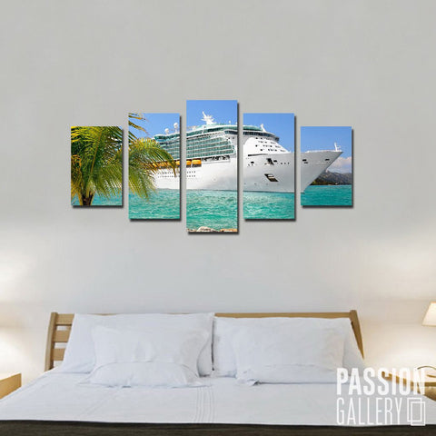 Tropical Deluxe Cruise Ship 5 Piece Canvas Wall Art Decor