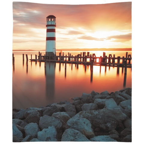 Sunrise At The Lighthouse Wall Tapestry