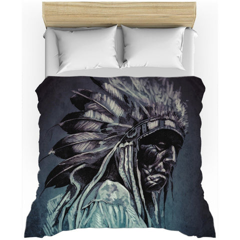Cherokee Indian Portrait All-Over Print Duvet Cover