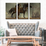Indian Woman On A Brown Horse 3 Piece Canvas Wall Art Decor