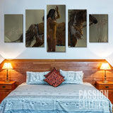 Indian Woman On A Brown Horse 5 Piece Canvas Wall Art Decor