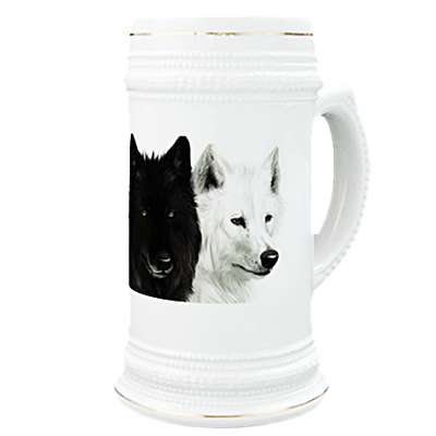 Black and White Wolves Beer Stein