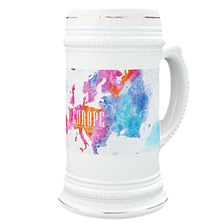 Europe Watercolored Map Beer Stein