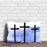 Hand Drawn Hill of Three Crosses Throw Pillow