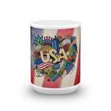 USA Destinations in Doodle 15 oz. Ceramic Mug