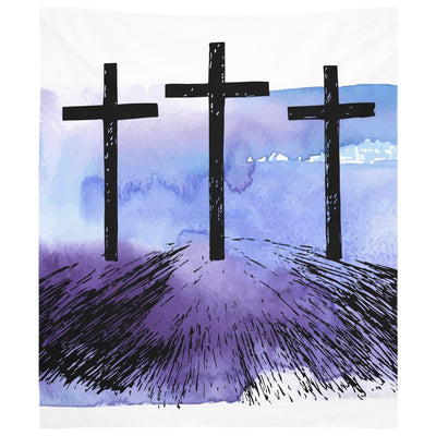 Hand Drawn Hill of Three Crosses Wall Tapestry