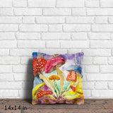 Psychedelic Mushroom Insomnia Throw Pillow