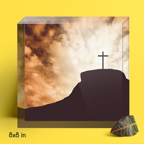 Silhouette of Cross on a Hill Acrylic Block