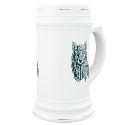 Wolf in Tribal Print Beer Stein